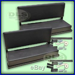 LAND ROVER DEFENDER 90 Black Vinyl Rear Bench Seat Set (Pair) with fixings
