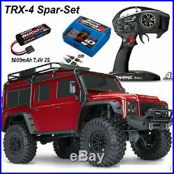 TraxxasTRX-4 Land Rover Defender Rouge + 5000 MAH Lipo Batterie + Id-Lader